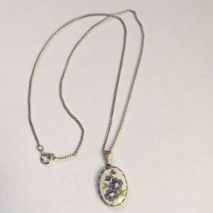 Vintage Hand Painted Flower Necklace